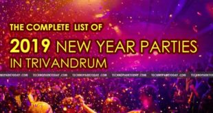 2019 – Complete List of New Year Parties in Trivandrum